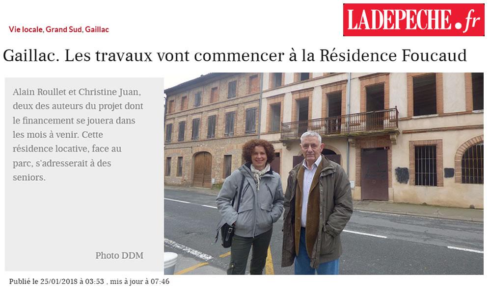 La Dépêche du Midi – article Résidence Foucaud du 25/01/2018