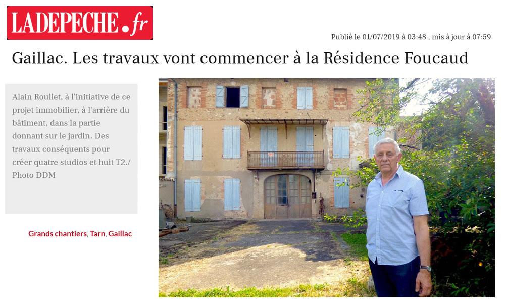 La Dépêche du Midi parle de la Résidence Foucaud