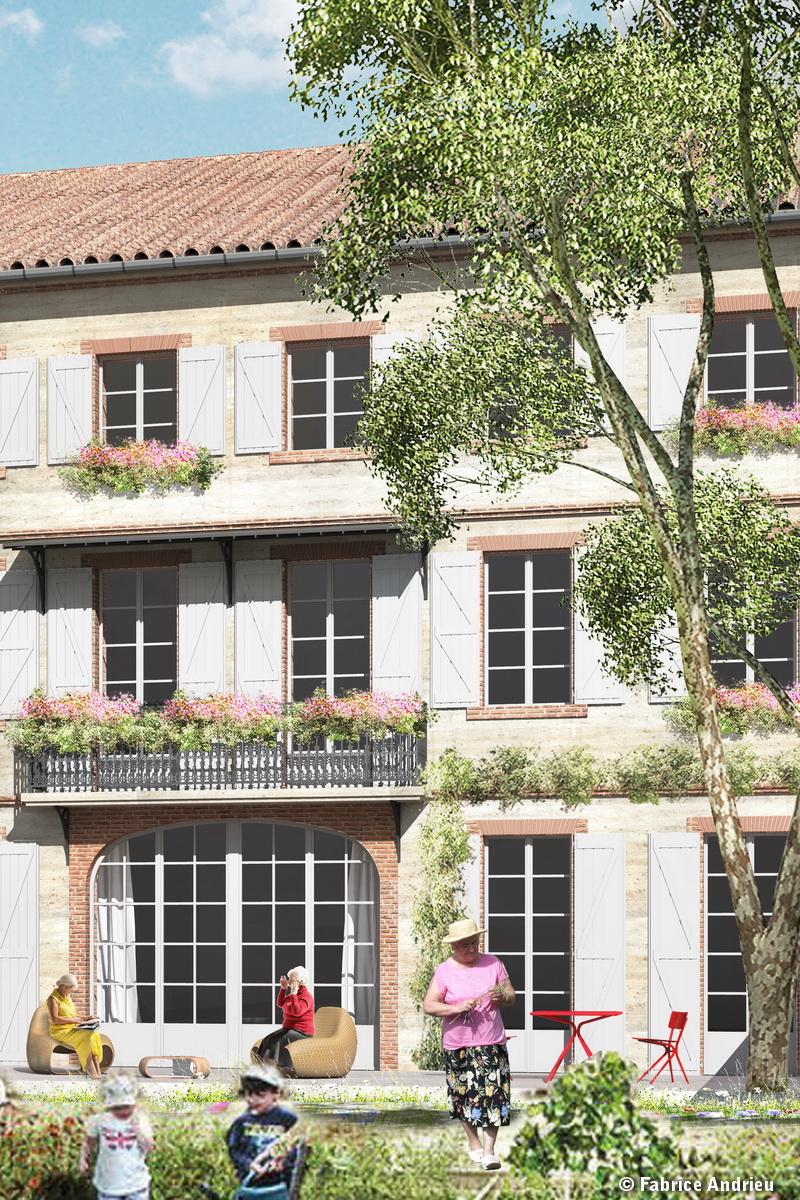 Vue de l'arrière de la résidence Foucaud Gaillac depuis le jardin