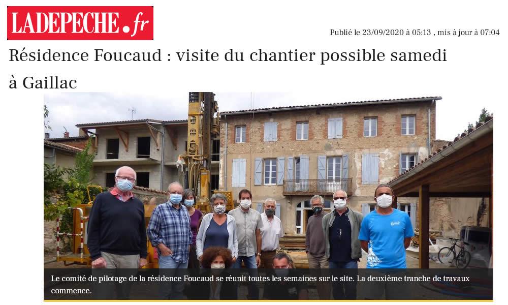 La Dépêche – Résidence Foucaud : visite du chantier possible samedi à Gaillac