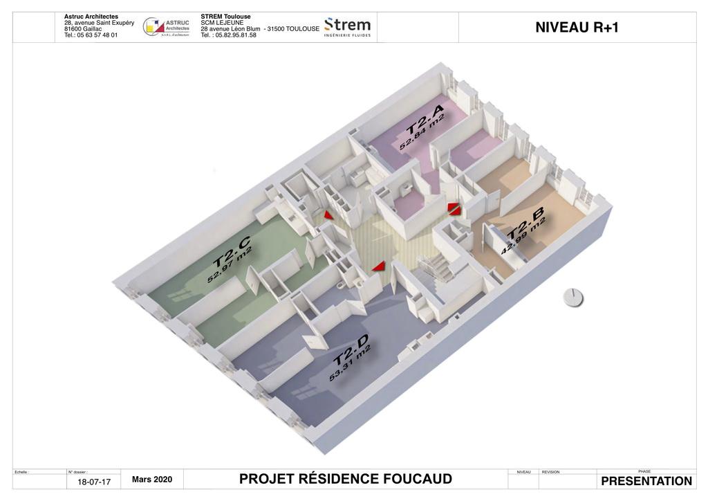 Plan 3D R+1 Residence Foucaud