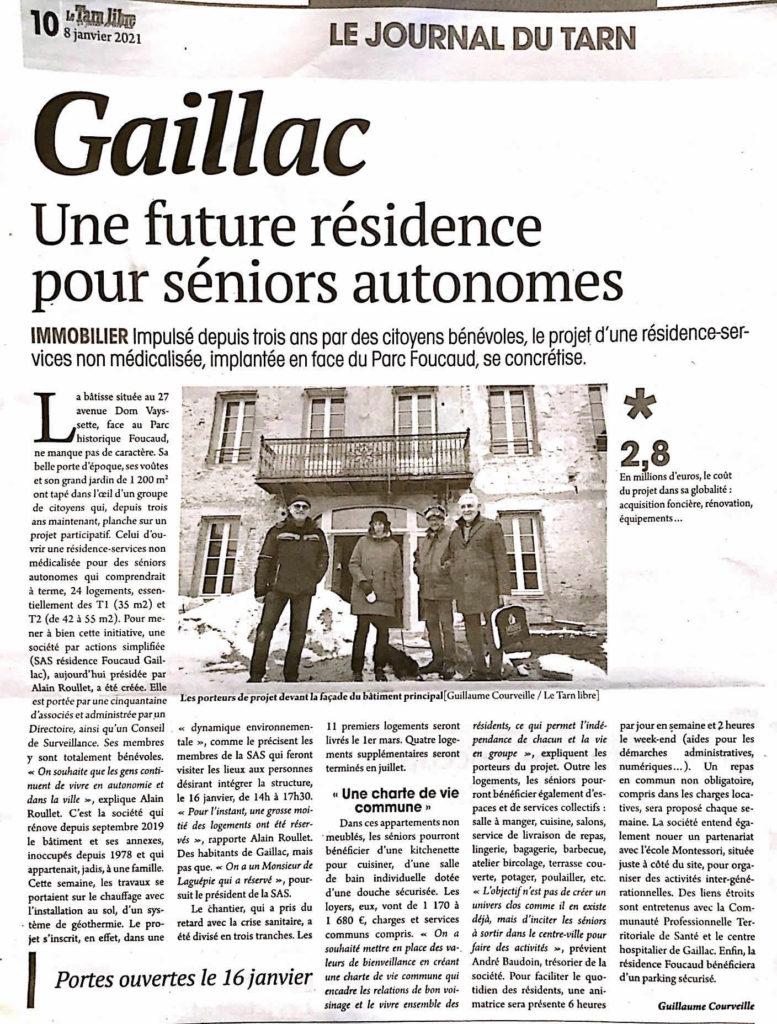 Tarn Libre - Article de Guillaume Courveille sur la résidence Foucaud Gaillac