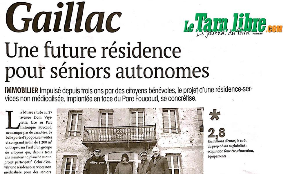 Le Tarn Libre du 8/01/2021 : Gaillac, une future résidence pour séniors autonomes