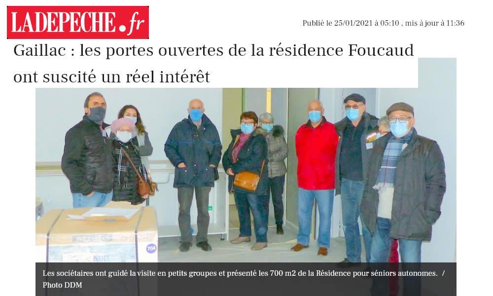 La Dépêche suite : Gaillac : les portes ouvertes de la résidence Foucaud ont suscité un réel intérêt