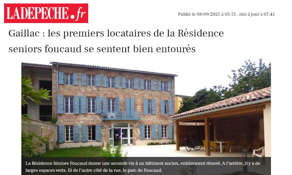 La Dépêche – Gaillac : les premiers locataires de la Résidence seniors Foucaud se sentent bien entourés